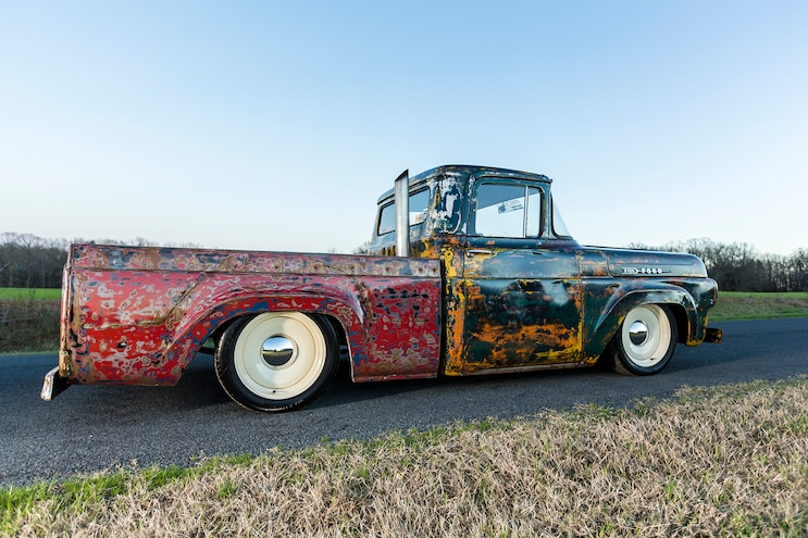 027 1960 Ford F 100 Caterpillar Diesel Engine Swap Rat Rod Pickup Patina Paint Job Passenger Side Rear View