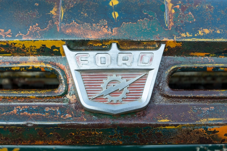 026 1960 Ford F 100 Caterpillar Diesel Engine Swap Rat Rod Pickup Patina Paint Job Ford F 100 Hood Emblem
