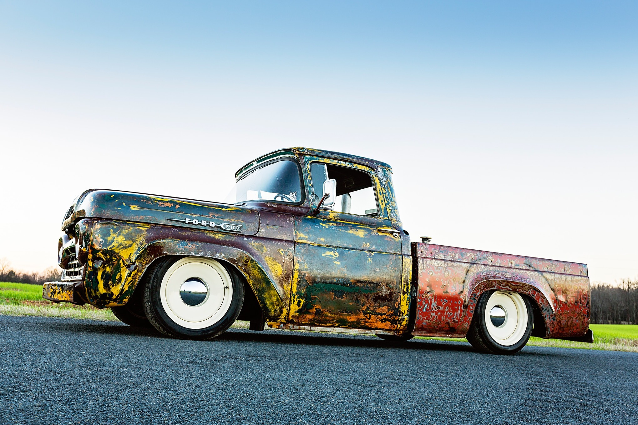 024 1960 Ford F 100 Caterpillar Diesel Engine Swap Rat Rod Pickup Patina Paint Job Side View