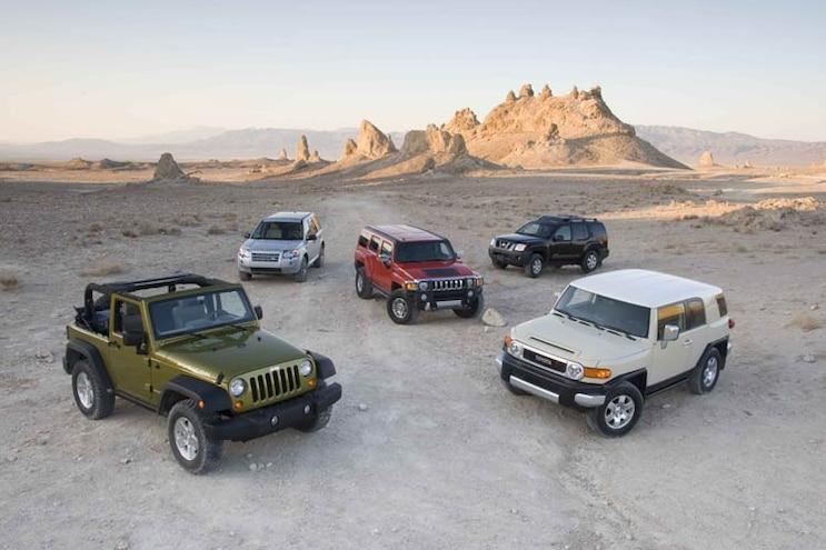 4x4 SUV Comparison: 2008 Hummer H3 Alpha, Jeep Wrangler Rubicon, Land Rover LR2, Nissan Xterra, and Toyota FJ Cruiser