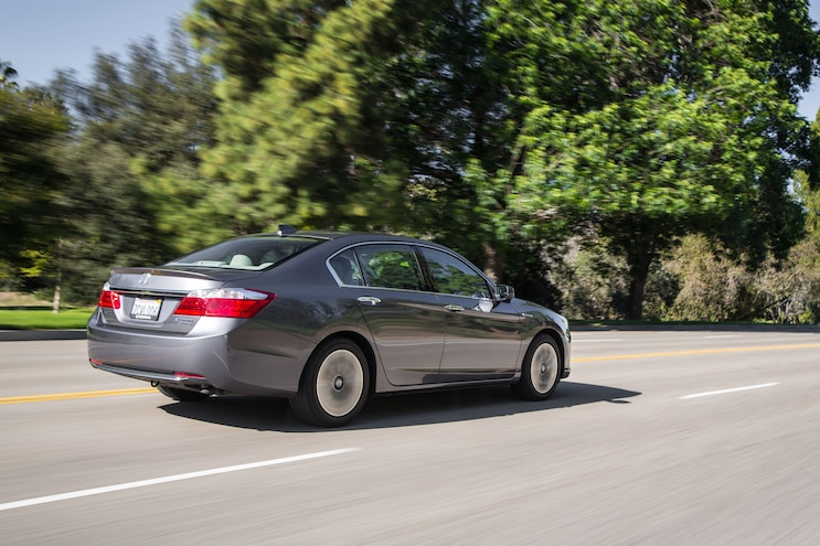 2014 Honda Accord Hybrid Touring Rear Three Quarter In Motion 02