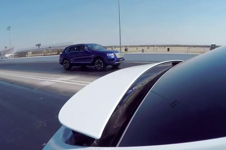 2016 Bentley Bentayga Tesla Model X Head 2 Head Race