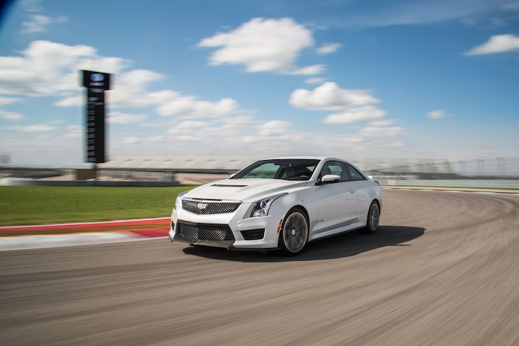 2016 Cadillac ATS V Coupe Front Three Quarter In Motion 05