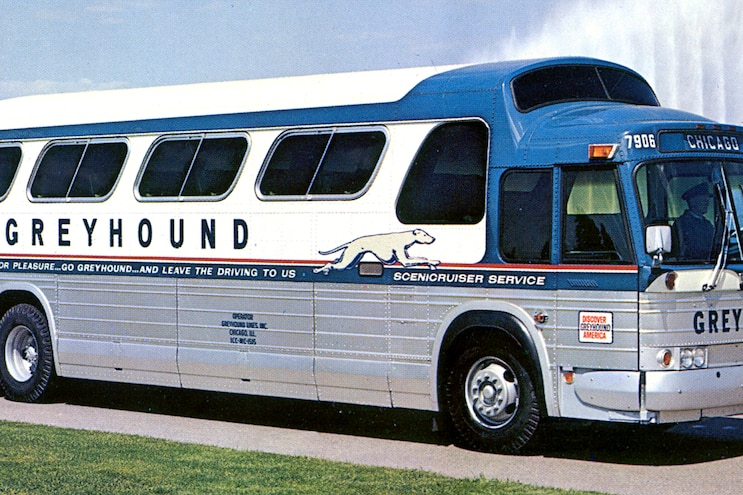 Side View Of Greyhound Bus