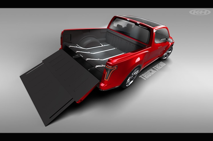 Tesla Pickup Truck Right Rear Tailgate Open