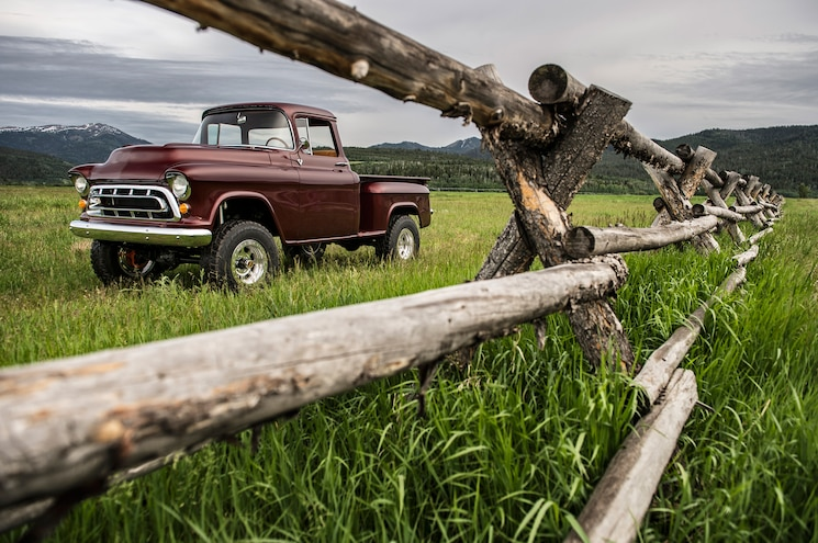1957 Chevrolet Task Force Napco Legacy Classic Trucks Front Parked On Grass