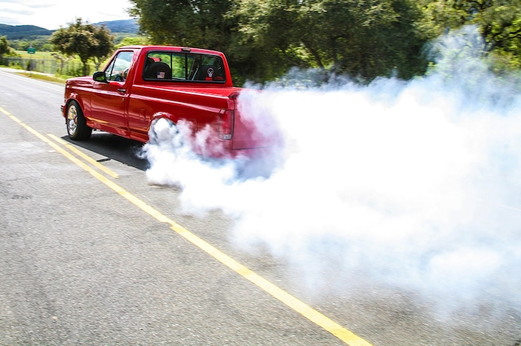 1993 Ford F 150 Lightning Red Truck Burnout On Street