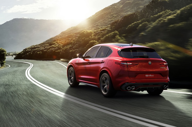 2018 Alfa Romeo Stelvio Left Rear View Driving