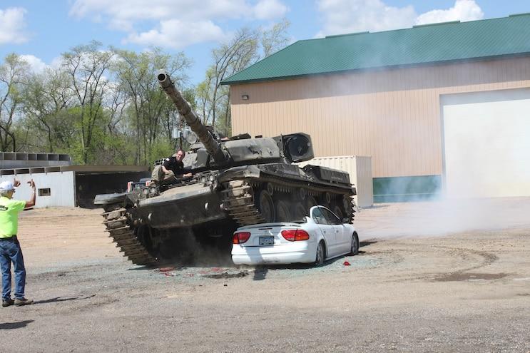 M4A2E8 Sherman Tank Crushing Car