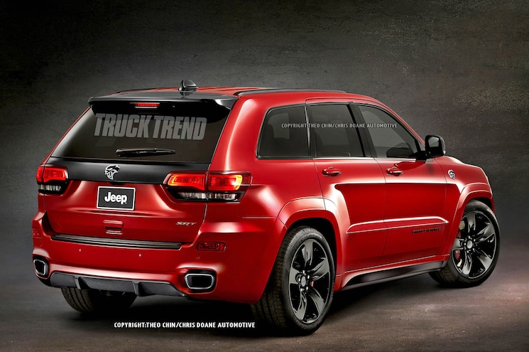 2017 Jeep Grand Cherokee Trackhawk Hellcat Render Rear Three Quarter