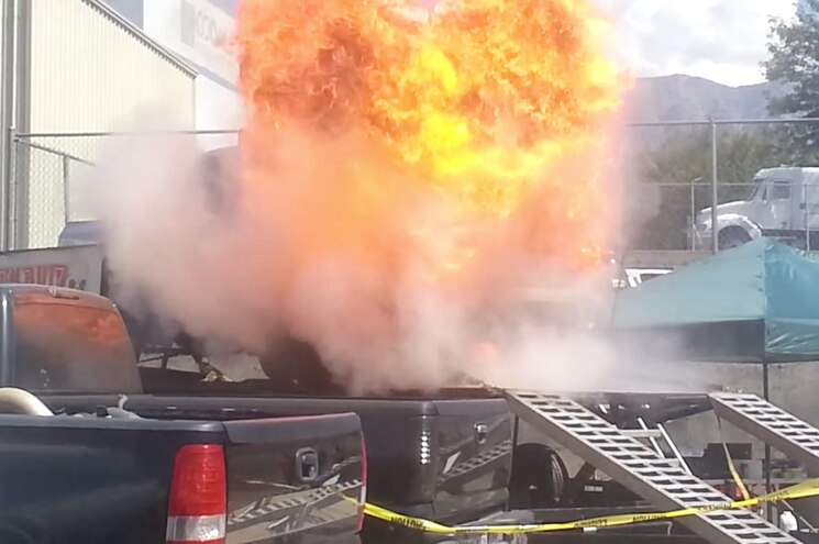 Watch a 1,400hp 2006 Dodge Ram Erupt Into a Fireball on the Dyno