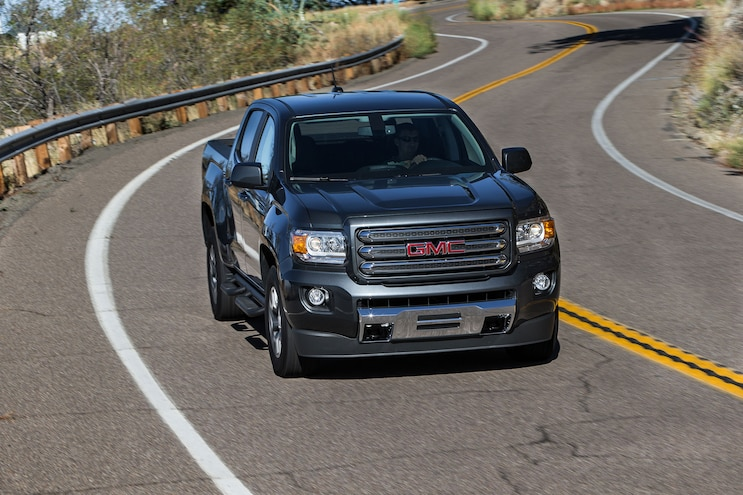 013 2016 GMC Canyon All Terrain Duramax Diesel Driving On Winding Road