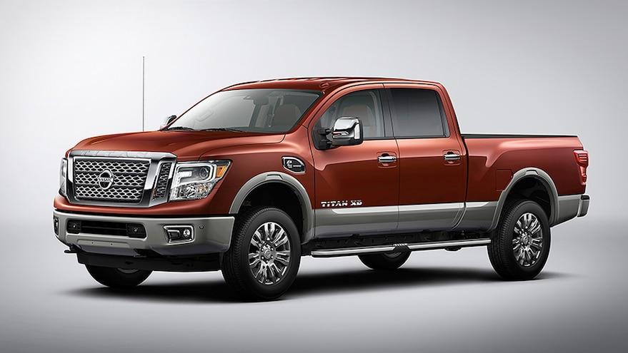 2016 Nissan Titan Platinum Reserve Front Side View White Background Forged Copper