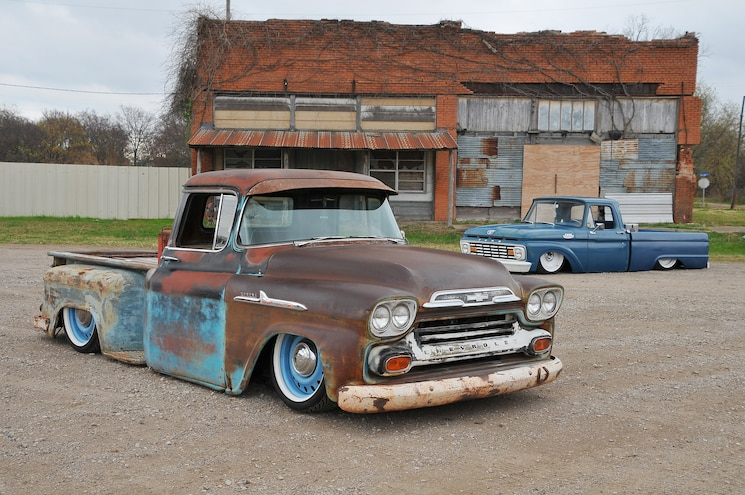 1958 Chevy Apache, 1963 Ford F100- A House Divided