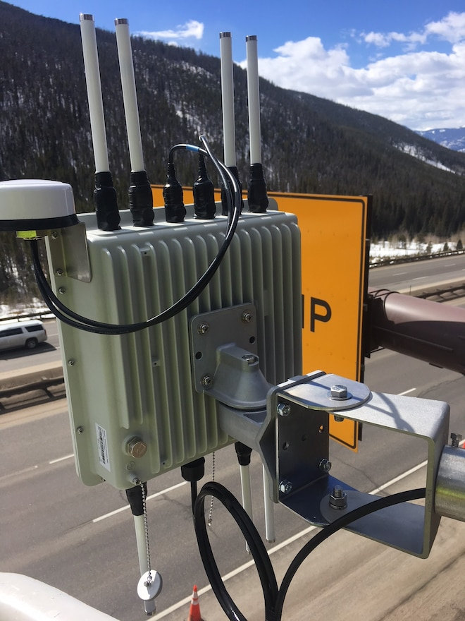 CDOT Panasonic I 70 V2X Roadside Unit Up Close