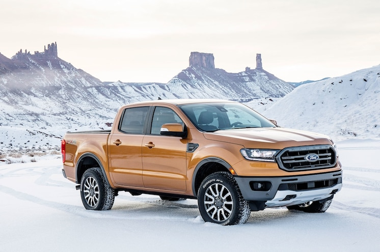 2019 Ford Ranger In Snow Front Side View