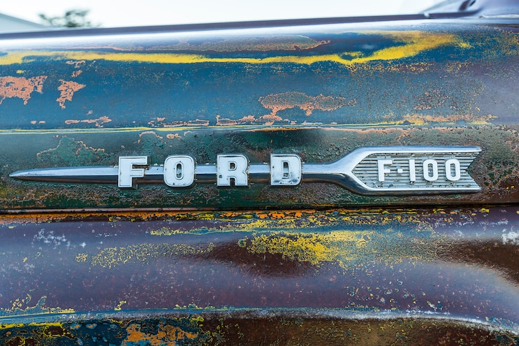 025 1960 Ford F 100 Caterpillar Diesel Engine Swap Rat Rod Pickup Patina Paint Job Ford F 100 Emblem