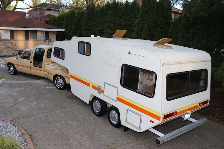1981 Toyota Pickup Dualie Rear Quarter With Camper