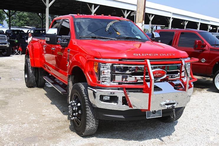 Scheid Diesel Extravaganza 2018 Red Ford Crewcab Duallie Front Passenger