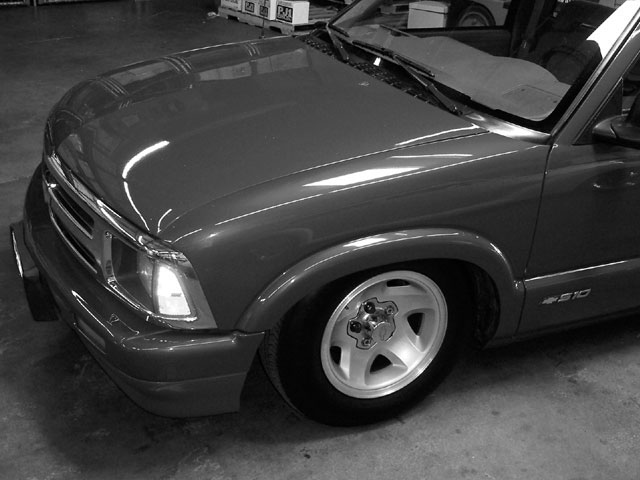 Fiberglass Cowl-Induction Hood on a 1996 Chevy S10 - 'Glass