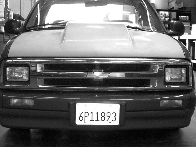 Fiberglass Cowl-Induction Hood on a 1996 Chevy S10 - 'Glass