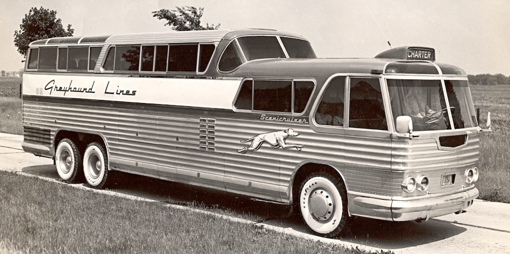 Old Photo Of Greyhound Bus
