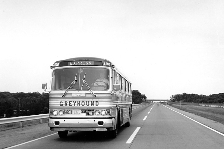 Greyhound Bus Front View