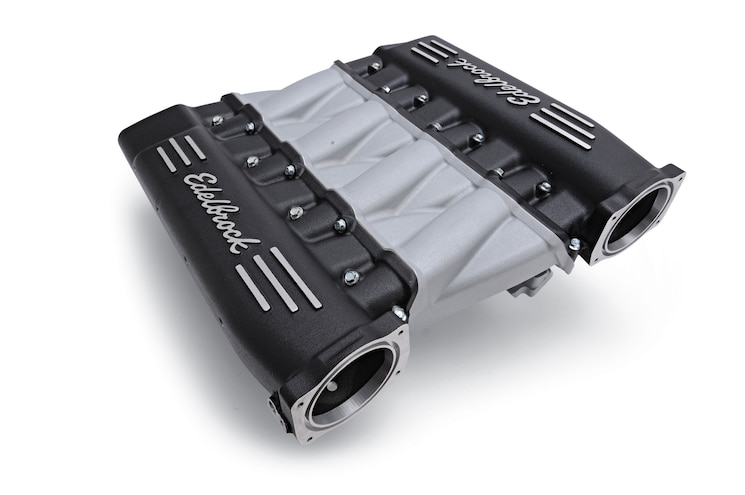Edelbrock Ls Cross Ram Intake Black Top Angle