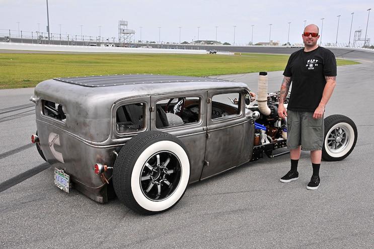 1931 Ford Fordor Diesel Rat Rod Owner Next To Car