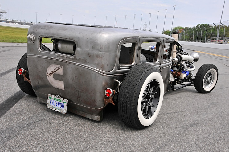 1931 Ford Fordor Diesel Rat Rod Rear Angled View
