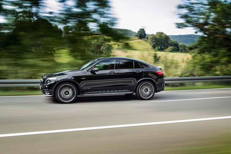 2017 Mercedes AMG GLC43 Coupe Side In Motion
