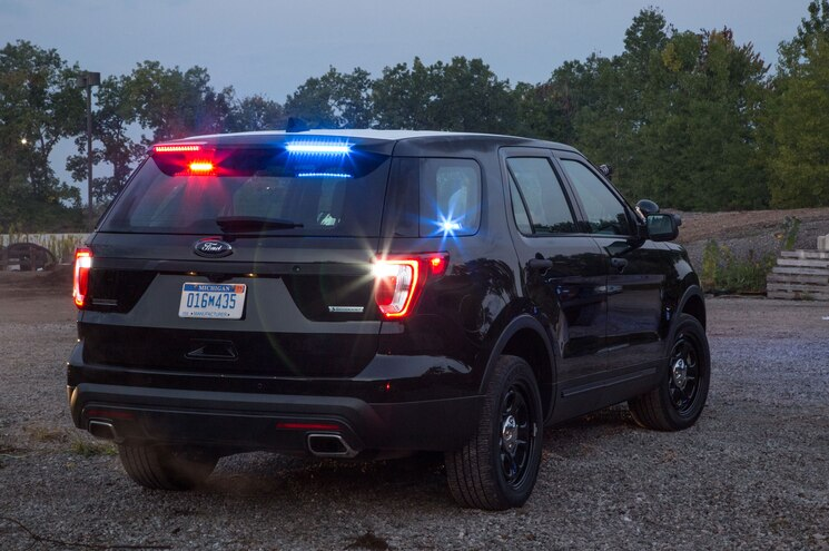 Ford Updates Police Interceptor Utility Explorer With Rear Spoiler Lights