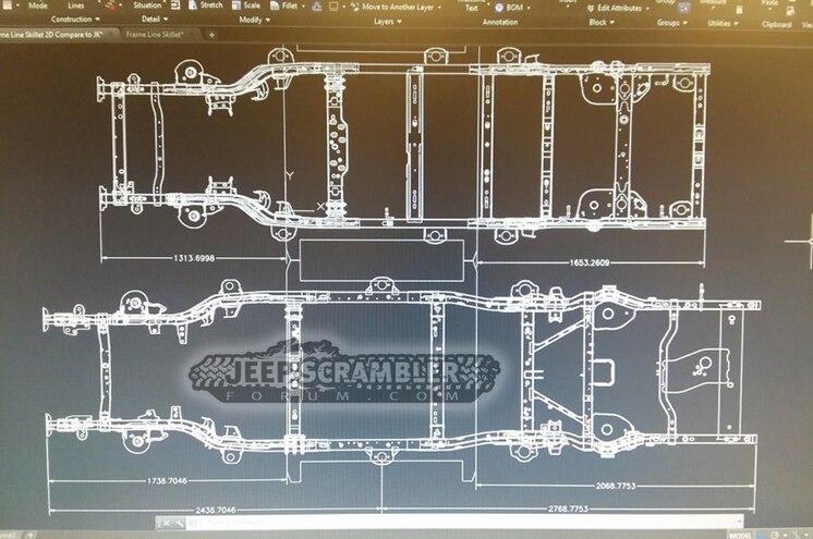 2019 JT Jeep Scrambler Pickup Frame Comparison JKU CAD