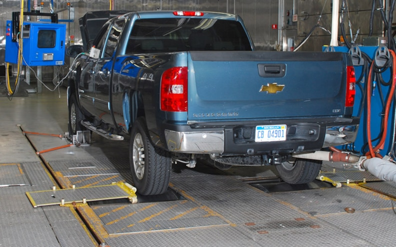 02 GM Truck Emissions Test Rear View