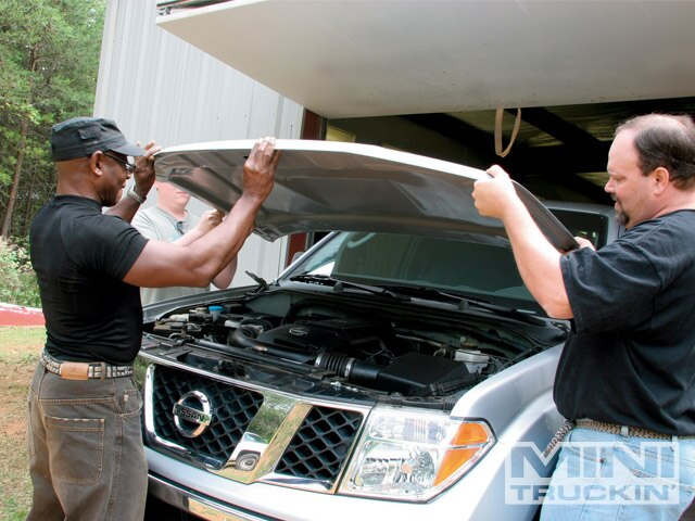 Fiberglass Hood Install On A Nissan Frontier Photo & Image