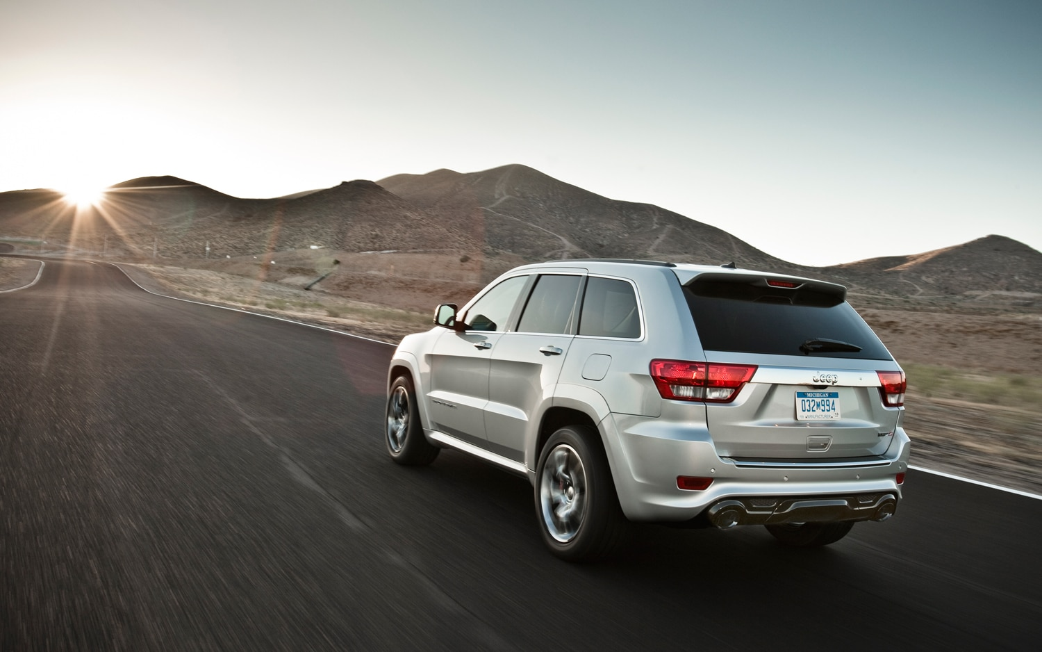 2012 Jeep Grand Cherokee SRT8 Rear View In Motion