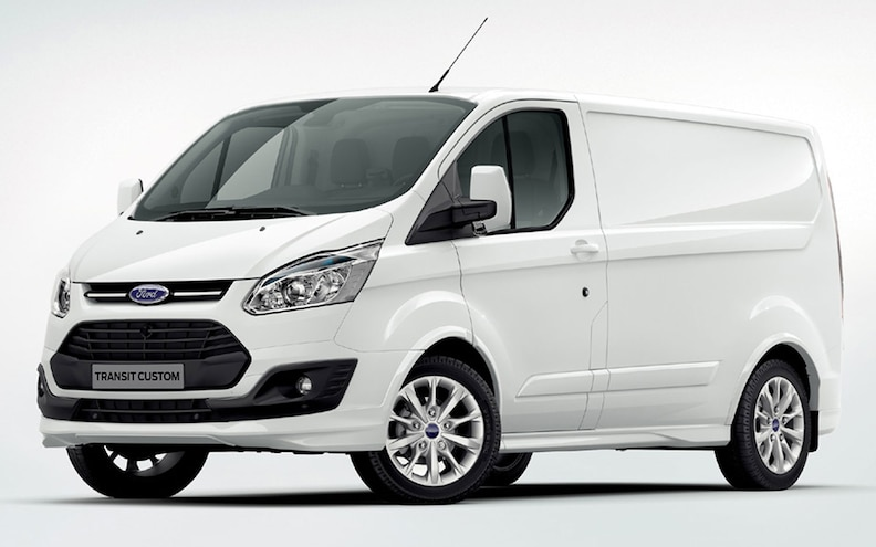 2013 Ford Transit Custom Cargo Van Front Three Quarters View White