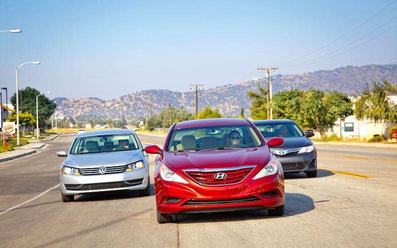 Comparison: 2012 Hyundai Sonata GLS vs. 2012 Toyota Camry LE vs. 2012 Volkswagen Passat SE