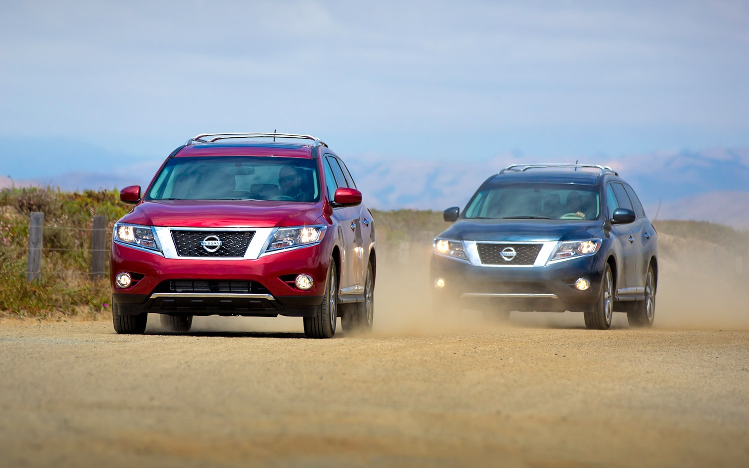 2013 Nissan Pathfinder Red And Blue