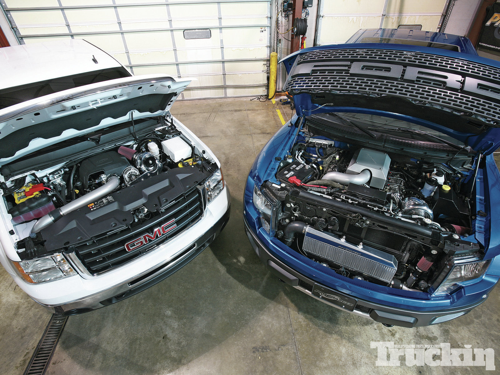 procharger Battle Ford Raptor Vs Gmc Sierra engine Bays