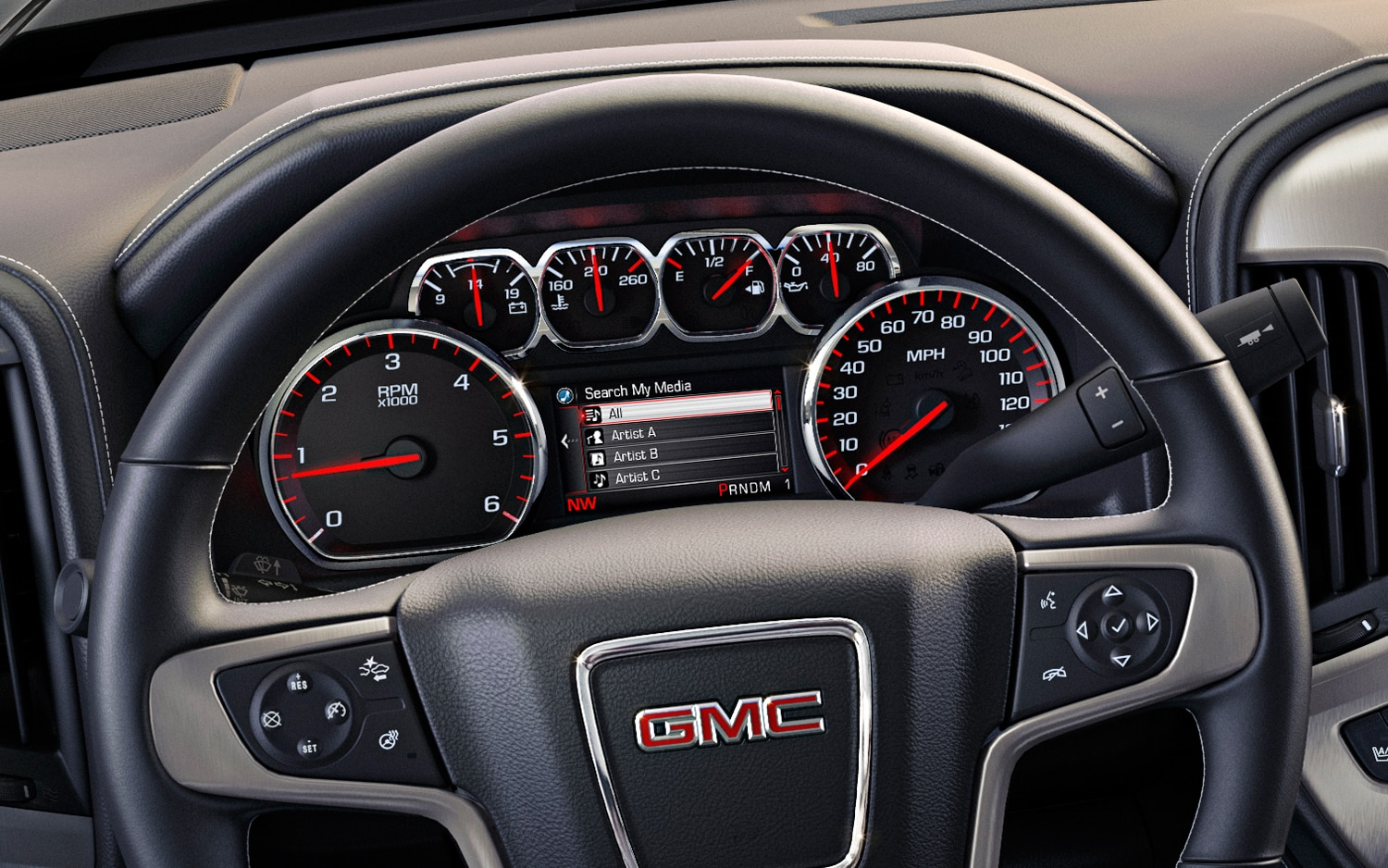 2014 GMC Sierra SLT Interior Steering Wheel IP Detail