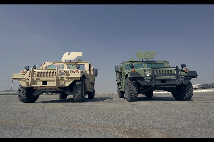 Sand Green Humvees Front