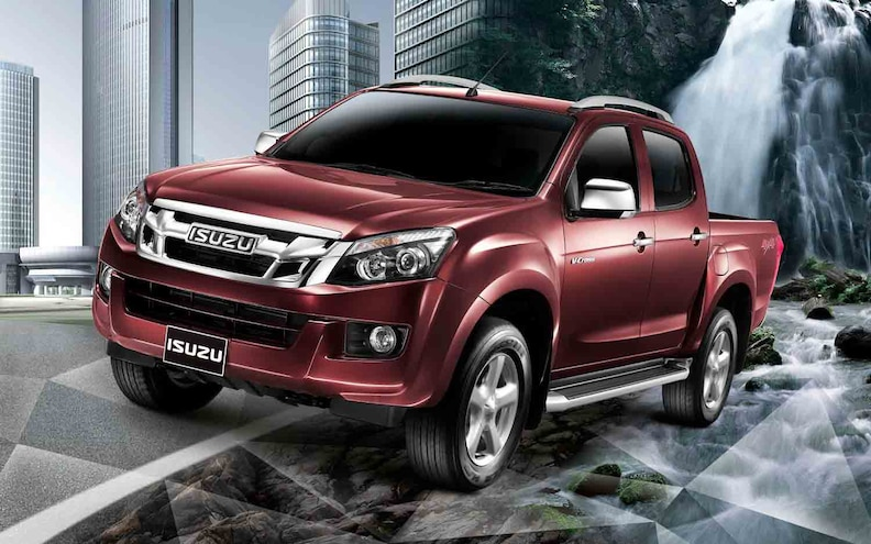 2012 Isuzu D Max Pickup Red Crew Cab Front Three Quarters View