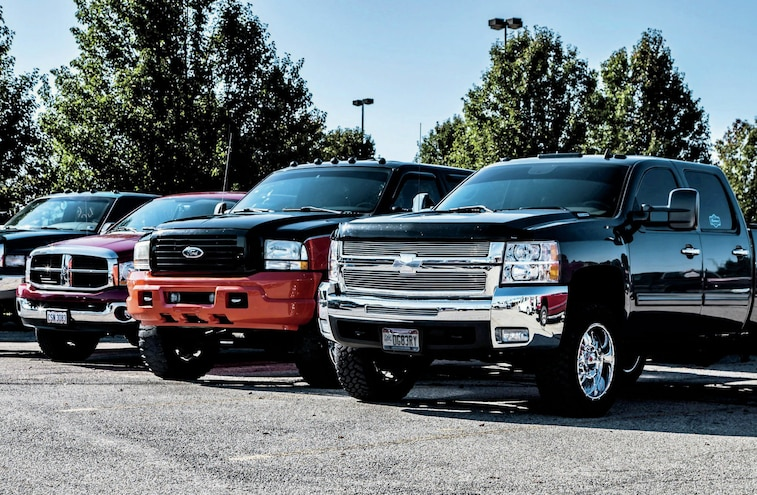 Chevy Ford And Dodge Trucks Front Three Quarter