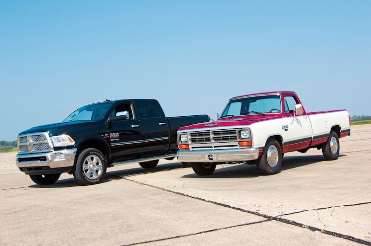 1985 Dodge Ram And 2014 Ram Front Three Quarter