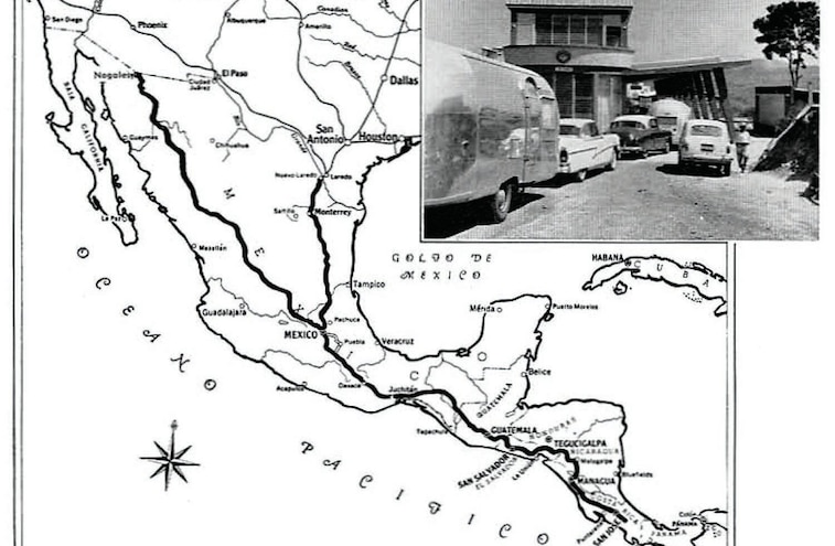 Airstream Map Of The Central American Trip Made In 1958
