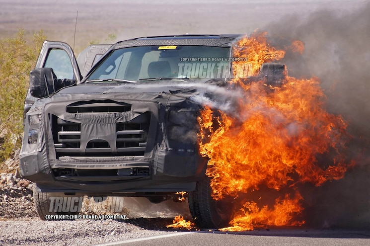Spied: 2016 Ford F-Series Super Duty Prototype Goes Down in Flames