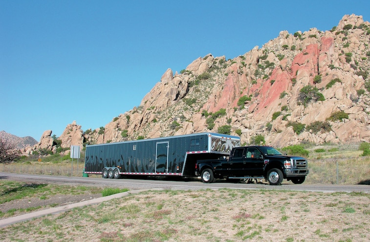 Ford Super Duty Towing Large 5th Wheel Trailer
