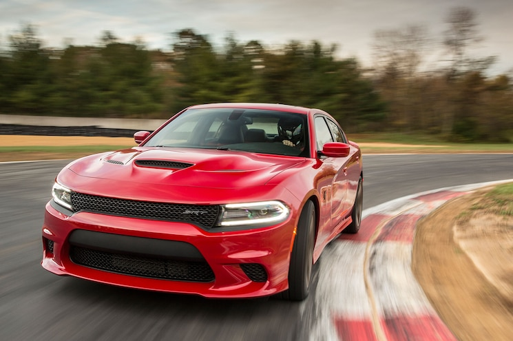 2015 Dodge Charger SRT Hellcat Front Three Quarter View In Motion 11