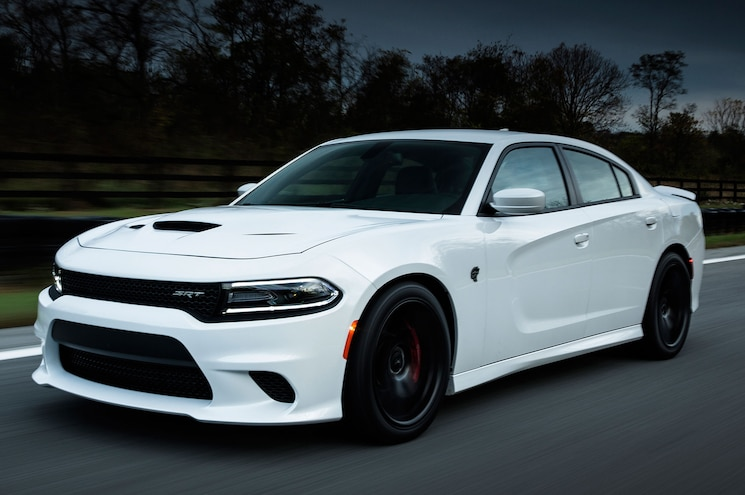 2015 Dodge Charger SRT Hellcat Front Three Quarter View In Motion 13